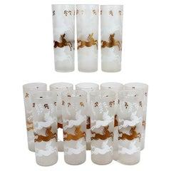 Libbey Cavalcade Horse Tom Collins Cocktail Glasses-Set of 12