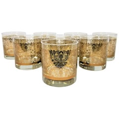 Libbey Glassware Barware Midcentury Gold Design, Set of 8