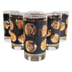 Libbey Midcentury 1960s Black and Gold Glassware Set of 6