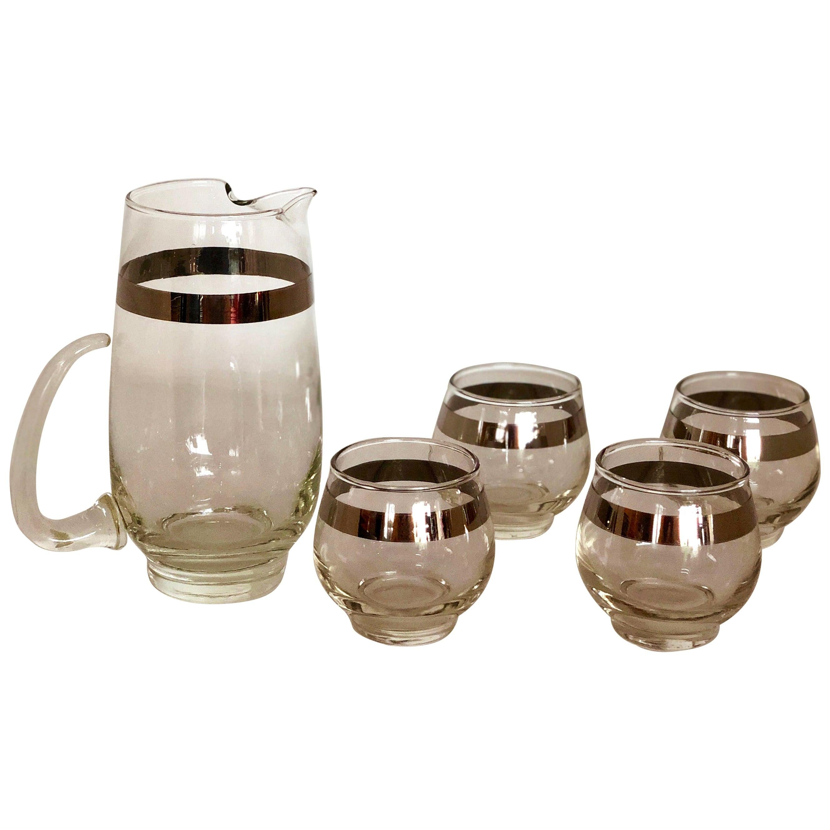 Libbey Silver Overlay Band Martini Cocktail Pitcher with Four Matching Glasses
