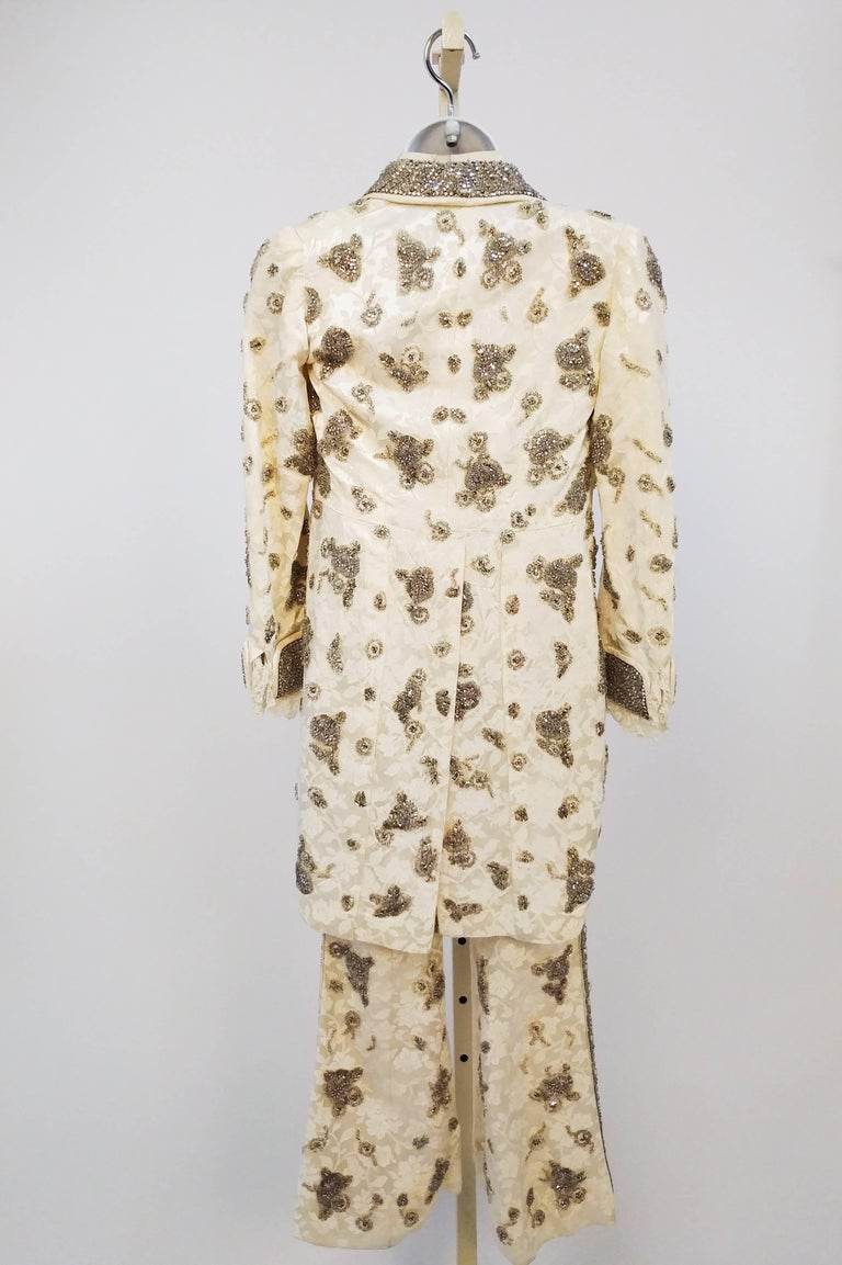 Beige Bedazzled Rhinestone Miniature Tailcoat Set For Sale