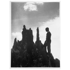Liberia Liberian in Front of a Termite Hill, circa 1930, Silver Gelatin Print