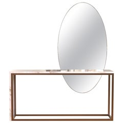 Liberica Console in White Olympic Marble and Bronze