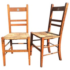 Liberty, a Pair of Arts & Crafts Oak Rush Seat Chairs Inlaid with Pewter Hearts