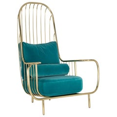 21st Century Liberty Armchair High Back Polished Brass and Blue Velvet Cushions