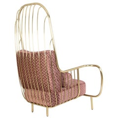 Liberty Armchair High Back, Polished Brass and Pink Jacquard Velvet Cushions