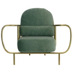 21st Century Liberty Armchair in Polished Brass and Grey Velvet Cushions