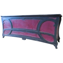 Liberty Black and Red Lacquered Counter Table, Italian Bar or Shop, Late 1800s