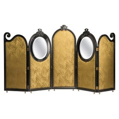 Liberty Black Wood Green Palm Fabric Five Panels and Oval Mirrors Screen