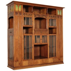 Liberty Bookcase Art Nouveau Sessile Oak Brass, Italy, End 1800-Early 1900
