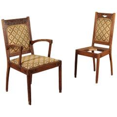 Liberty Chair Armchair Art Nouveau Sessile Oak Brass, Italy, 1800-1900