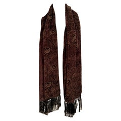 Liberty Chocolate Brown Voided Velvet Fringed Shawl with Peacock Feather Design