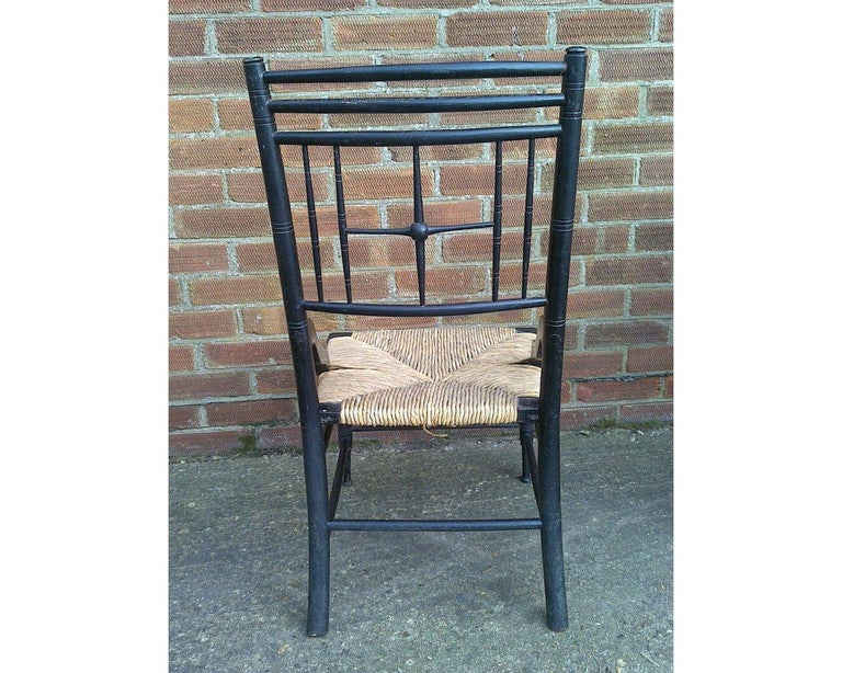 English Liberty & Co. Aesthetic Movement Ebonized Side Chair, Style of Ford Madox Brown For Sale