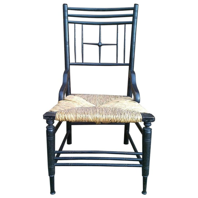 Liberty & Co. Aesthetic Movement Ebonized Side Chair, Style of Ford Madox Brown For Sale