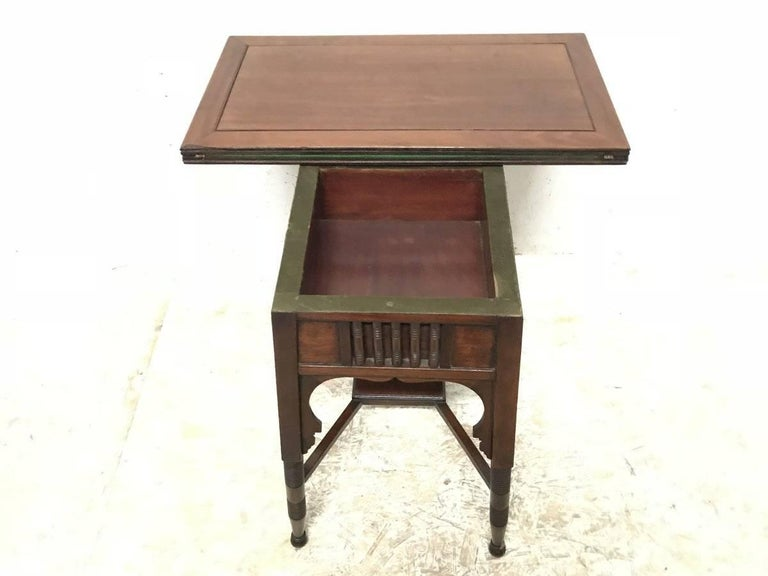 Hand-Crafted Liberty & Co. an Anglo-Moorish Arts & Crafts Walnut Fold over Card & Games Table For Sale