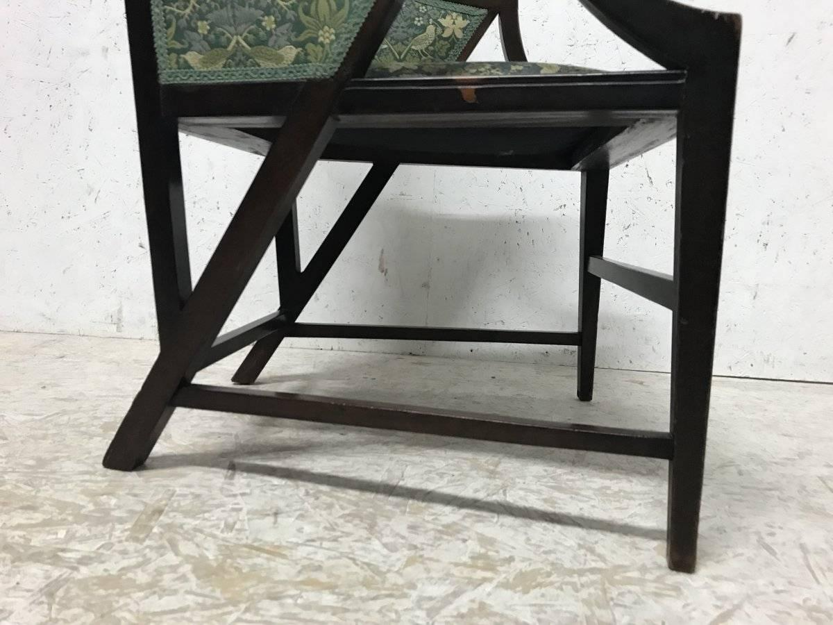 Trend Mark Antique Long Oak Stool Low Bench William Morris Style Art And Crafts Covering Antique Furniture