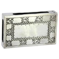 Liberty & Co, Antique Sterling Silver Matchbox Holder, Birmingham, 1913