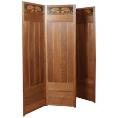 Liberty & Co Arts and Crafts Oak Four-Panel Folding Dressing Screen