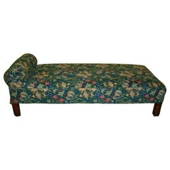Liberty & Co. Attr. An Arts & Crafts Oak Chaise or Day Bed in Morris & Co Fabric