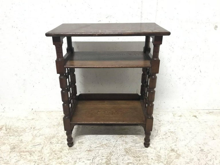 Arts and Crafts Liberty & Co Attributed, Arts & Crafts Book Stand with Moorish Turned Decoration For Sale