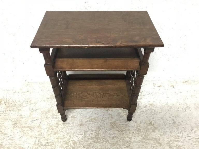 English Liberty & Co Attributed, Arts & Crafts Book Stand with Moorish Turned Decoration For Sale