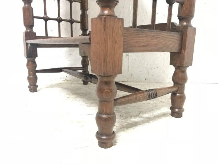 Oak Liberty & Co Attributed, Arts & Crafts Book Stand with Moorish Turned Decoration For Sale