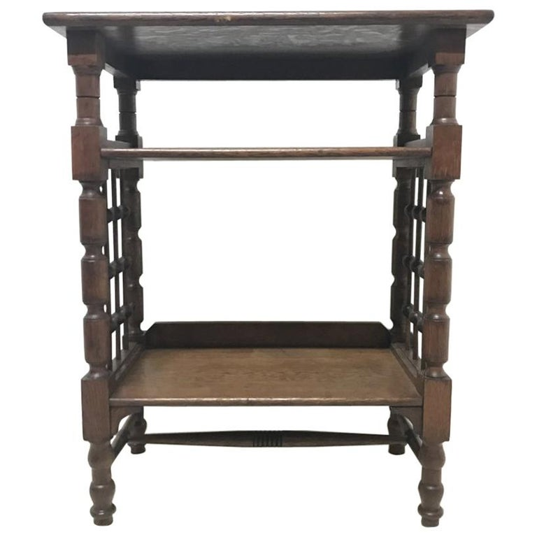 Liberty & Co Attributed, Arts & Crafts Book Stand with Moorish Turned Decoration For Sale
