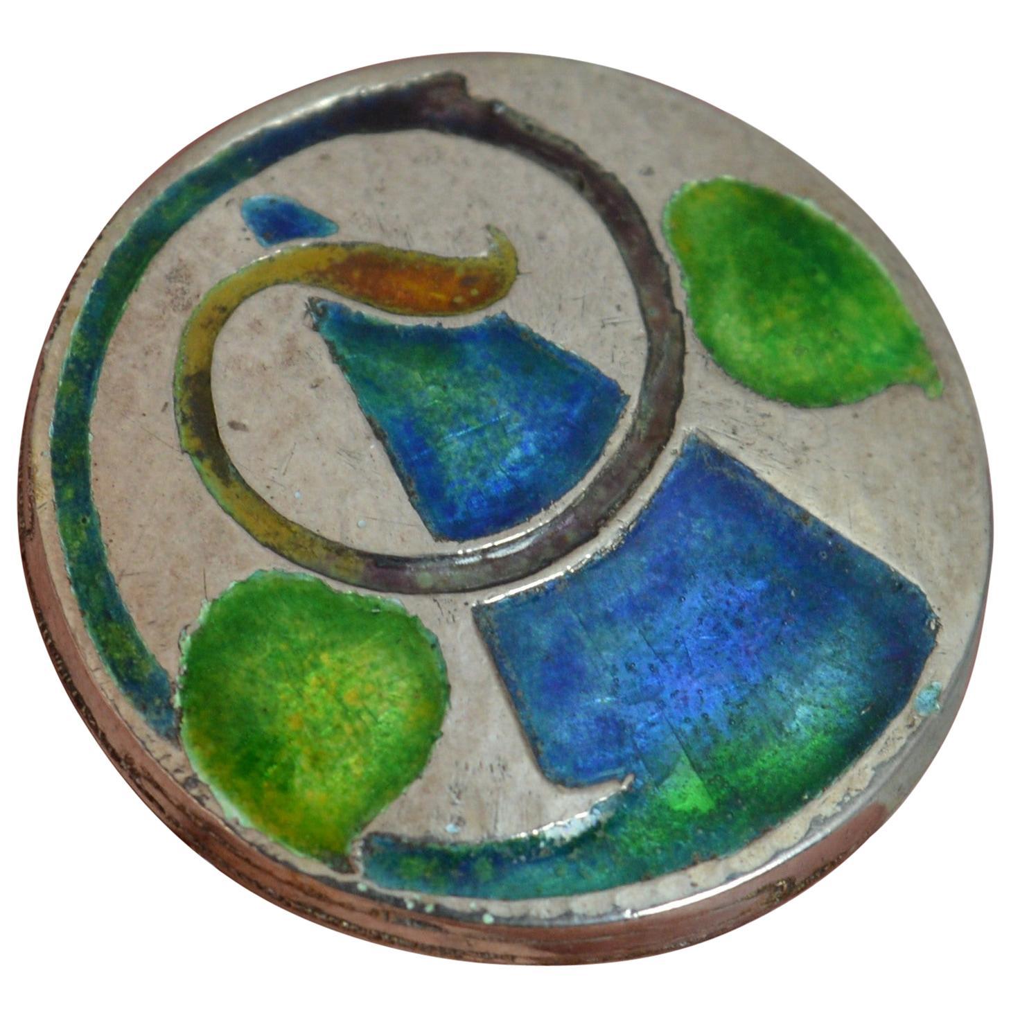 Liberty & Co. Cymric Edwardian Silver Enamel Circular Brooch