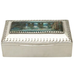 Liberty & Co Ltd. Antique Edwardian Sterling Silver and Enamel Arts & Crafts Box