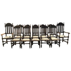 Liberty & Co. Set of 14 Gothic Style Arts & Crafts Oak Dining Chairs & Armchairs