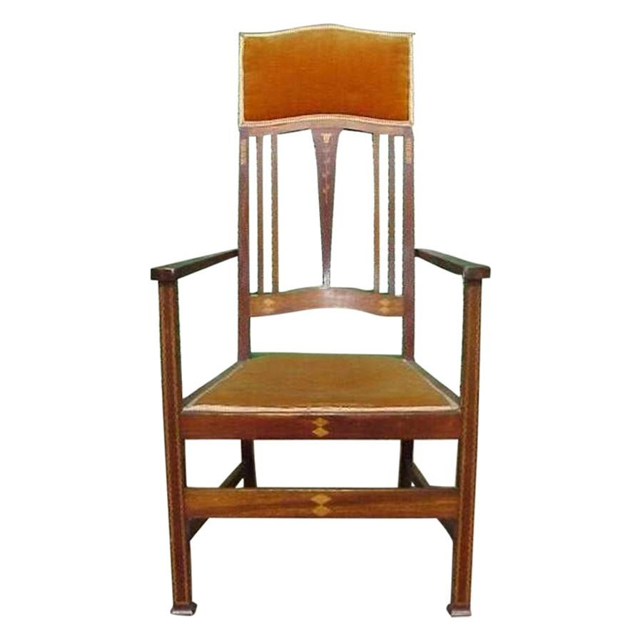 Liberty & Co. Two Arts & Crafts Mahogany Armchair's with Stylized Floral Inlays
