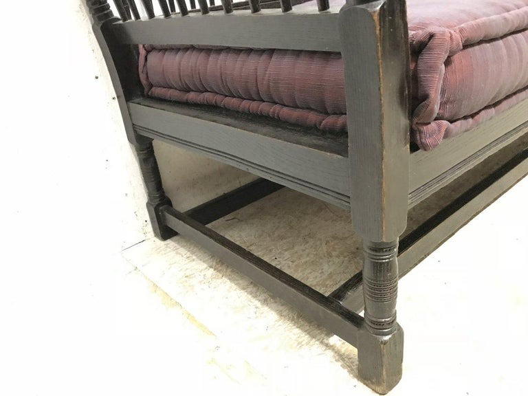 Liberty & Co. William Birch, an Arts & Crafts Dark Oak Settee with Angular Sides For Sale 9
