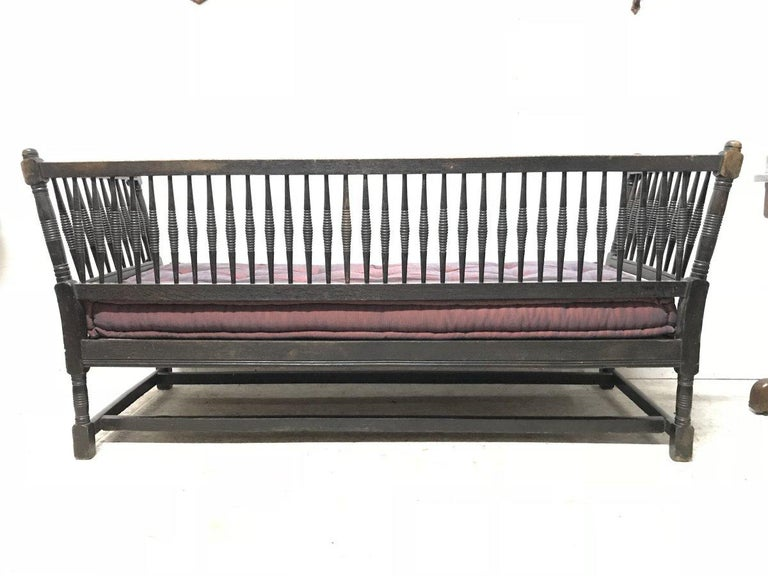 English Liberty & Co. William Birch, an Arts & Crafts Dark Oak Settee with Angular Sides For Sale