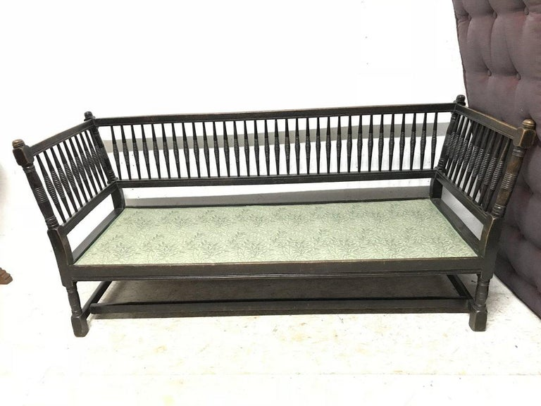 Hand-Crafted Liberty & Co. William Birch, an Arts & Crafts Dark Oak Settee with Angular Sides For Sale