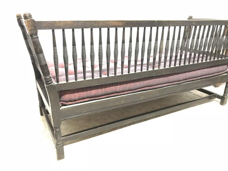 Liberty & Co. William Birch, an Arts & Crafts Dark Oak Settee with Angular Sides For Sale 1