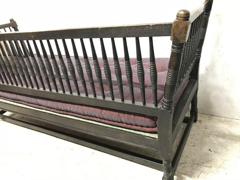 Liberty & Co. William Birch, an Arts & Crafts Dark Oak Settee with Angular Sides For Sale 2