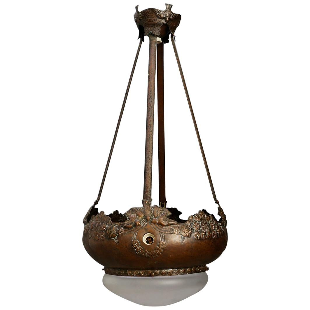 Liberty French Pendant Chandelier in Copper and Opaline Glass