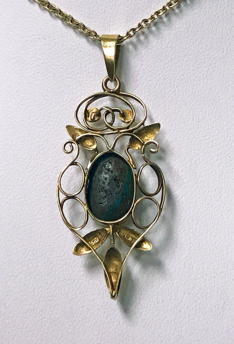 Liberty Gold Turquoise Art Nouveau Pendant, circa 1900 In Good Condition For Sale In Toronto, ON