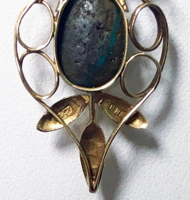 Women's or Men's Liberty Gold Turquoise Art Nouveau Pendant, circa 1900 For Sale