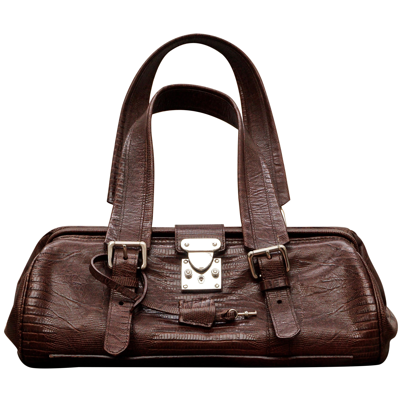 Liberty Italian Mid Brown Faux Crocodile Leather Weekender Bag
