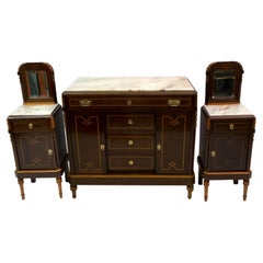 Liberty Italian Thuja Briar and Pink Portugal Marble Twobedside Tables and Chest