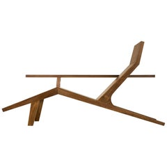 Liberty Lounger by Atelier van Lieshout in Solid Walnut with Sheepskin for Moooi