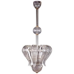Liberty Murano Glass Chandelier or Lantern by Ercole Barovier, 1930