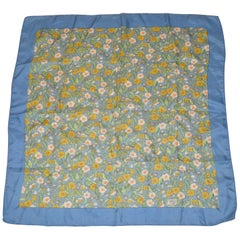 "Liberty of London ""Fields of Florals"" Blue Borders Silk Scarf"