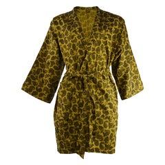 Liberty of London Print Men's 1960s Gold Paisley Kimono Robe Smoking Jacket