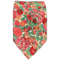 LIBERTY OF LONDON Red & Green Floral Print Cotton Tie