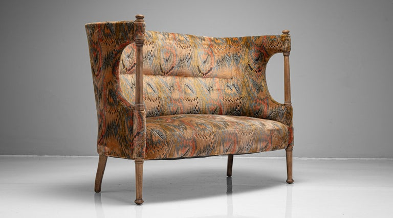 """Liberty of London Sofa England, circa 1890  Beautifully designed sofa by William Birch, traditionally reupholstered in the 1970's.  Measures: 54"""" W x 27.5"""" D x 42.25"""" H x 119"""" seat.     $ 7,200."""