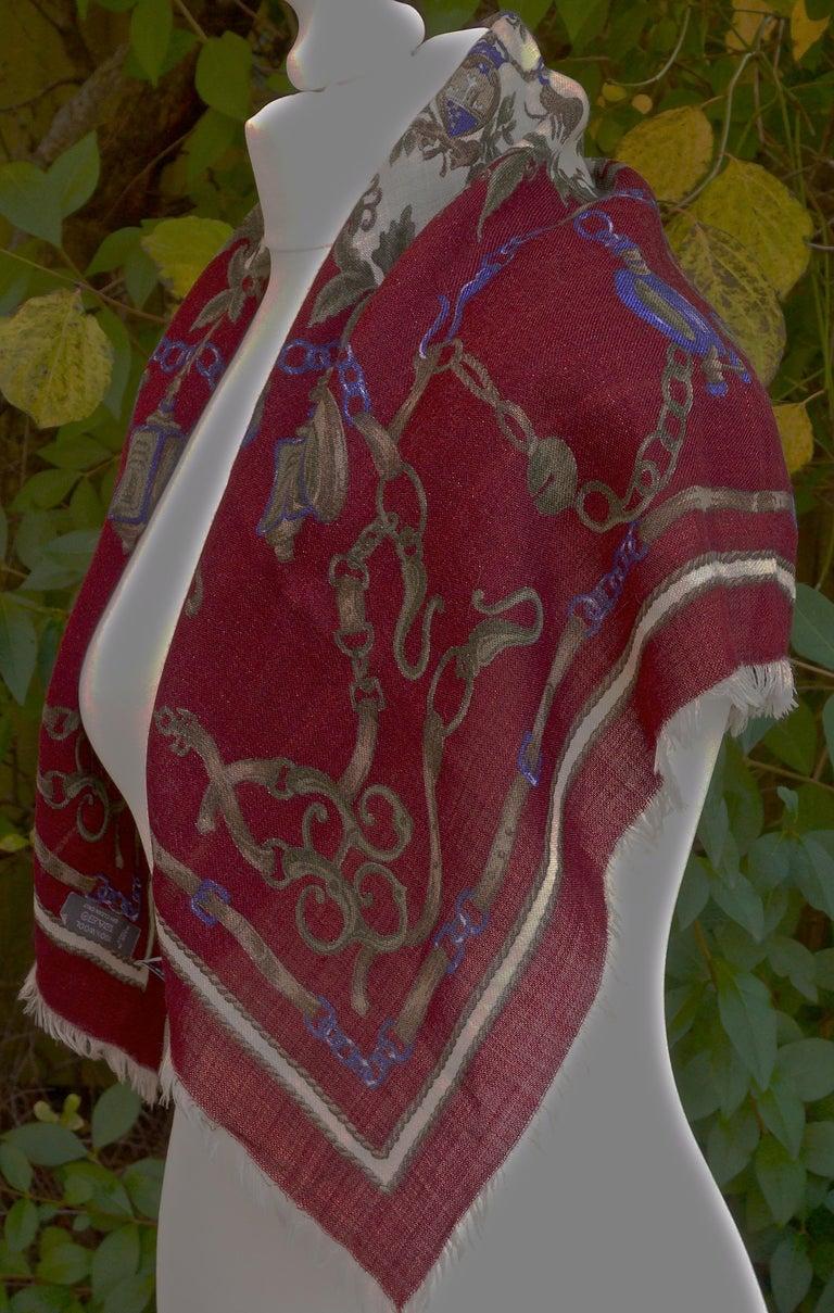 Black Liberty of London Square 100% Wool Belt Chain Charm Print Multi Burgundy Scarf For Sale