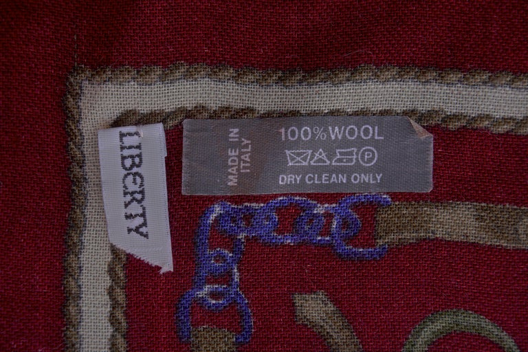Liberty of London Square 100% Wool Belt Chain Charm Print Multi Burgundy Scarf For Sale 2