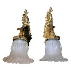Liberty Pair of French Wall Sconces in Gilt Bronze and Opaline Glass